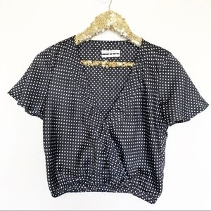 Urban Outfitters Polka Dot Wrap Crop Top XSmall